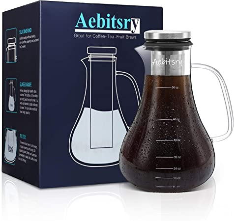 Aebitsry Cold Brew Coffee Maker, 56oz For Homemade Iced or Hot Coffee Maker Brewer Pitcher, Airtight Thick Glass Tea Pot Infuser Carafe with Ultra Mesh Removable Stainless Steel Filter and Seal Lid
