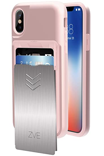 quality design 24ad1 d184f iPhone XS Wallet Case, iPhone X Case with Card Holder, ZVE Apple iPhone XS  Case with Card Holder Sliding Cover Dual Layer Anti Shock Protective Case  ...