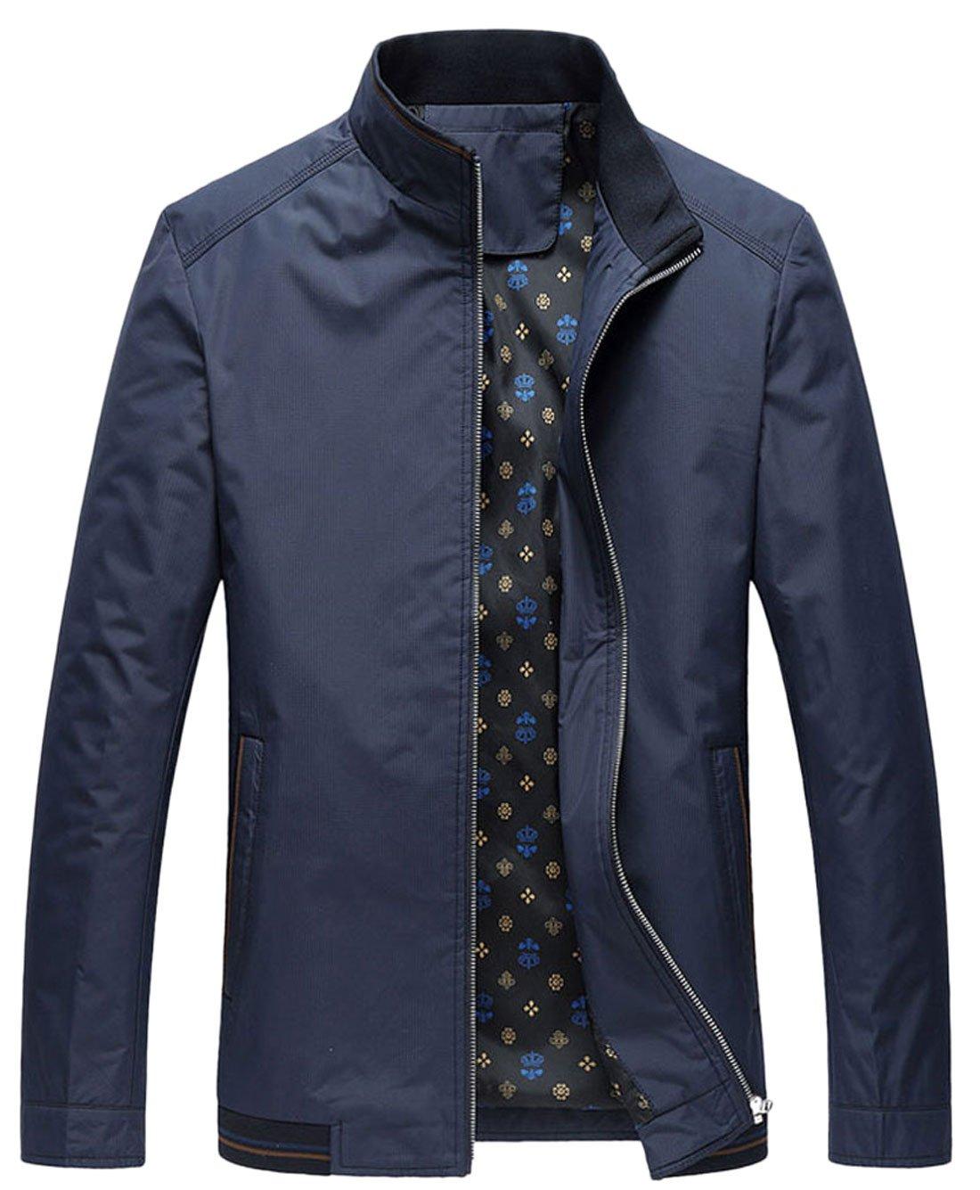 Chouyatou Mens Casual Softshell Full Zip Lightweight Bomber Jacket (X-Large, Dark Blue)