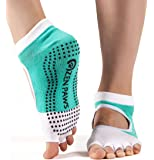 Zen Paws premium non slip toeless grip socks for Yoga, Pilates, Fitness, Barre or dance - turquoise color.