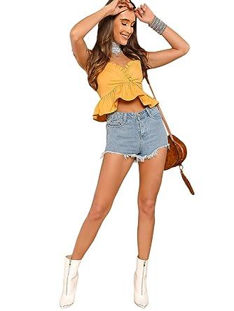 e48e3930b7 SHEIN Women s Summer Spaghetti Strap V Neck Ruffle Cami Crop Tank Top at Amazon  Women s Clothing store