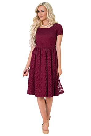 2c34c2f373fc Jenna Modest Lace Dress or Bridesmaid Dress in Bright Burgundy - XS
