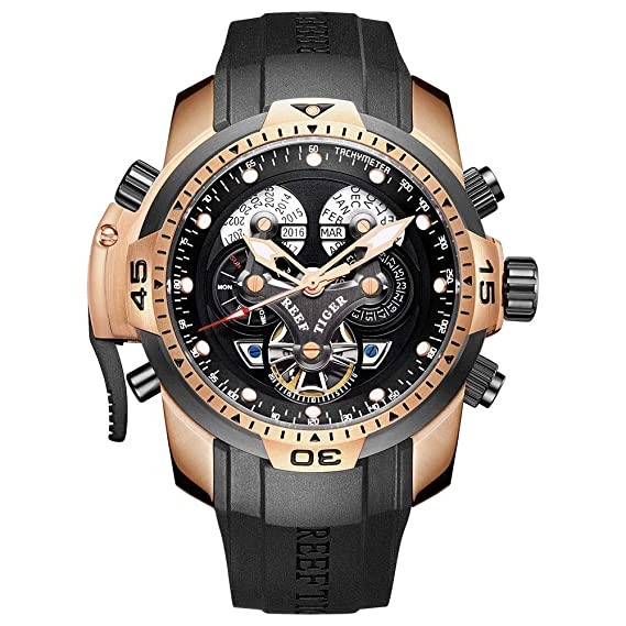Relojes Militares Reef Tiger para Hombre con Correa de Goma Reloj Deportivo Complicado Automático RGA3503: Amazon.es: Relojes