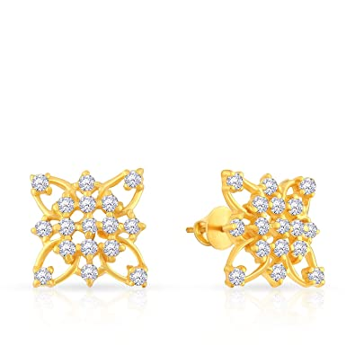 2c3149aba Buy Malabar Gold and Diamonds 22k Yellow Gold and Cubic Zirconia Stud  Earrings for Women Online at Low Prices in India | Amazon Jewellery Store -  Amazon.in
