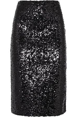 a4a54fa0a957 flowerry Women Wedding Party Black Sequin Skirt Knee Length Straight Skirt  XS