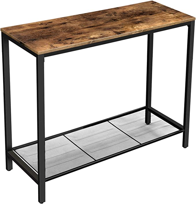 VASAGLE Console Table, Sofa Table, Entryway Table with Metal Mesh Shelf