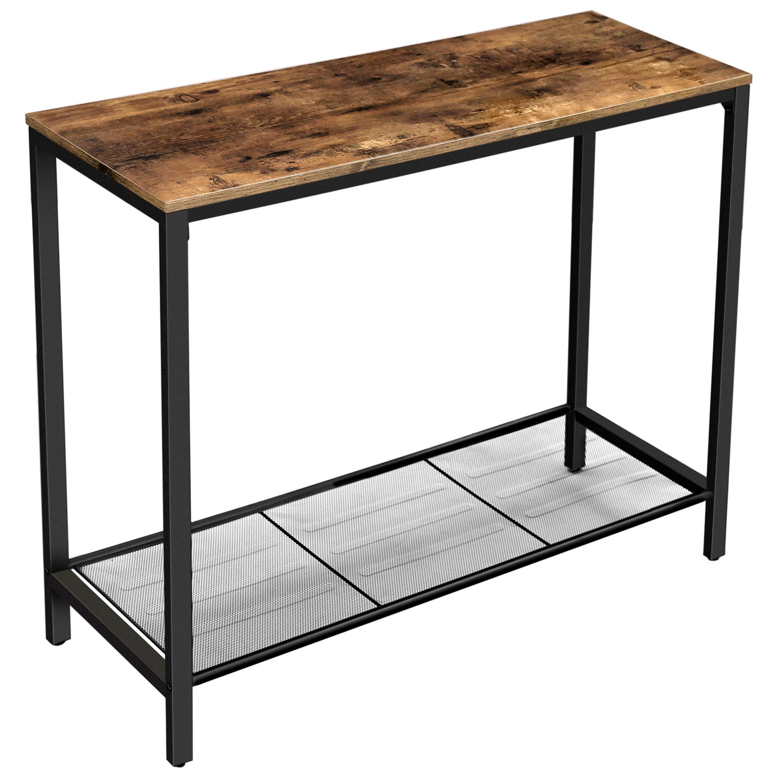 VASAGLE INDESTIC Console Table, Sofa Table, Entryway Table with Metal Mesh Shelf, 39.4 x 13.8 x 31.5 Inches, for Hallway, Entryway, Living Room, Industrial Rustic Brown ULNT86X by VASAGLE
