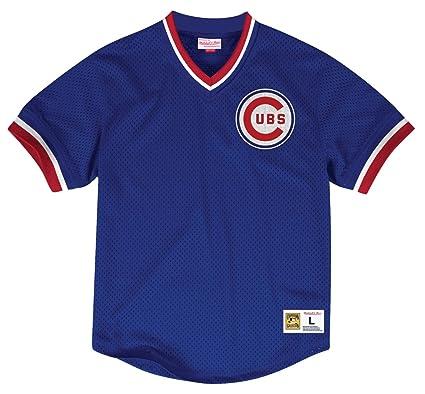 68da459e1 Amazon.com : Mitchell & Ness Chicago Cubs Men's Mesh Blue V-Neck ...
