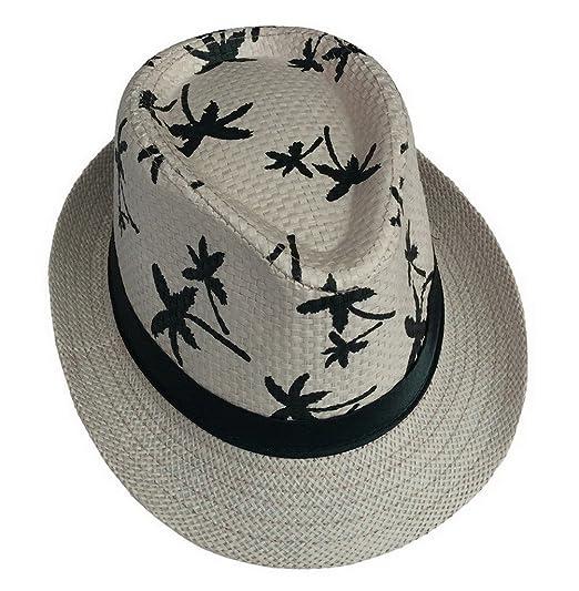 7385306b AOYOMO Women Men Holiday Coconut Tree Fedora Jazz Cap Sun Straw Hat Beige