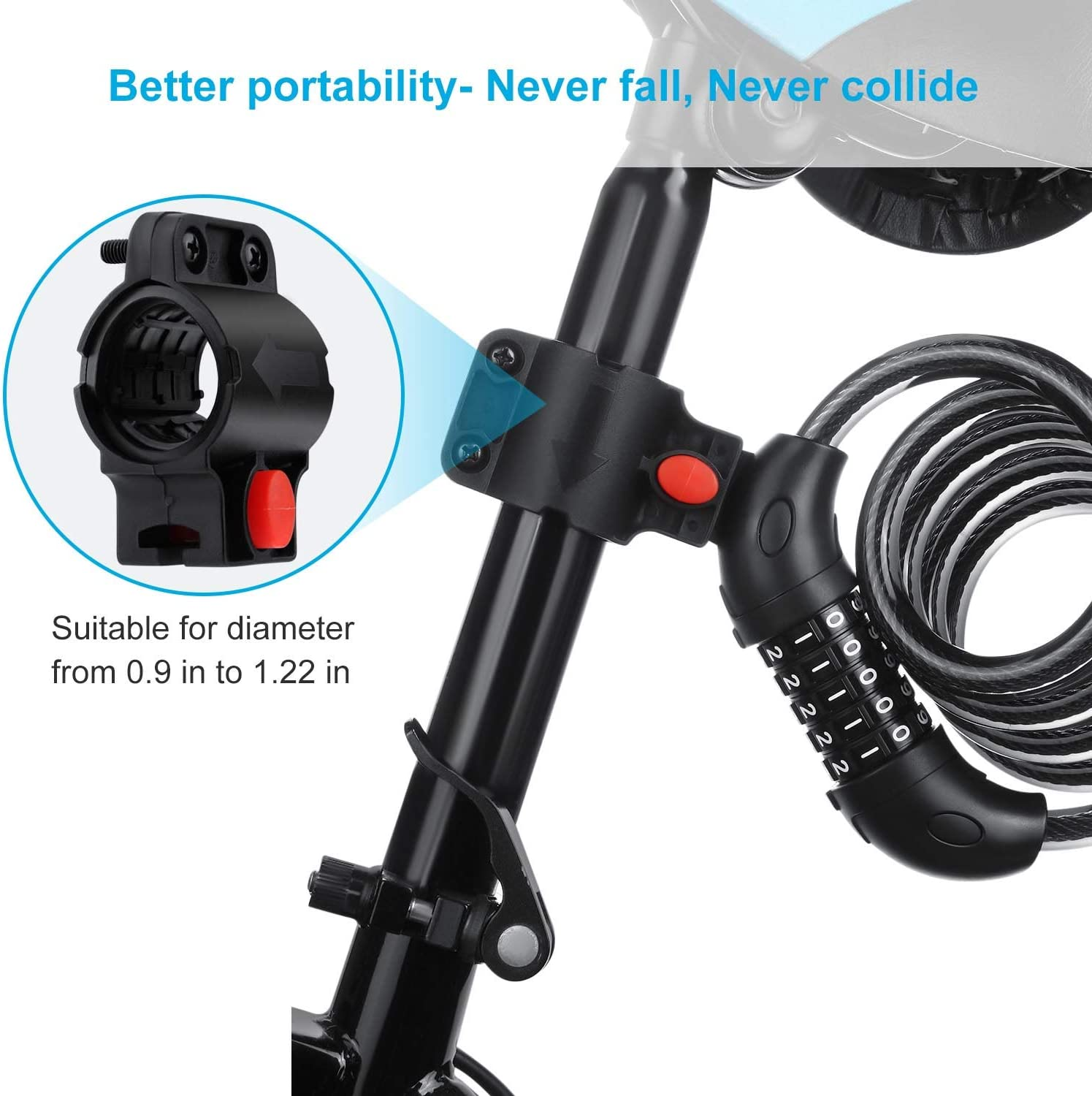VATAWA Premium Bike Lock with Mounting Bracket 5 Digit Resettable Combination Cable Chain Lock 4 ft Portable Coiling Bike Cable Lock 1.2mx12mm 1//2 in Diameter High Security Bike Lock Cable
