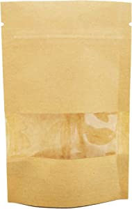 Couga Mall 50 PCS All-Purpose Kraft Paper Stand Up Bag, Zip Lock Reusable Kraft Package Bag Storage Pouch with Notch and Transparent Window for Storing Seeds, Snack and Nuts – Brown (50, 4.7