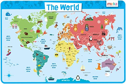 World Map For Kids With Countries Amazon.com: merka Kids Placemats Educational Placemat Non Slip