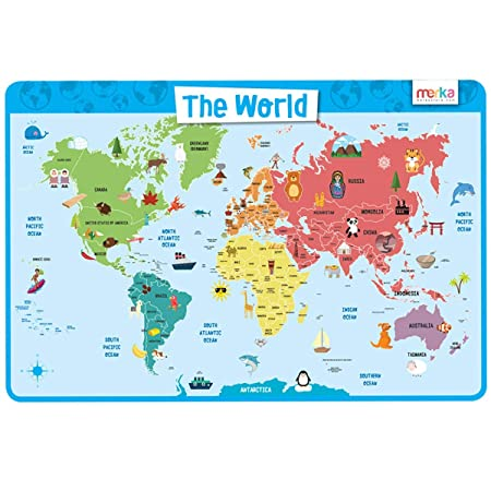 merka World Map Laminated and Washable Educational Kids Placemats (Multicolour) Place Mats at amazon
