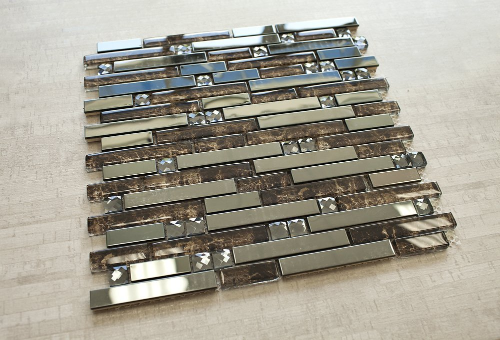 Newport Brownstone Walkup Blend 12 in. x 12 in. Mesh-Mounted Stainless Steel & Glass Mosaic Tile