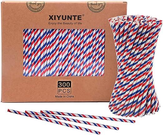 XIYUNTE Pajitas de Papel Biodegradable - 300pcs Bandera Rayas ...
