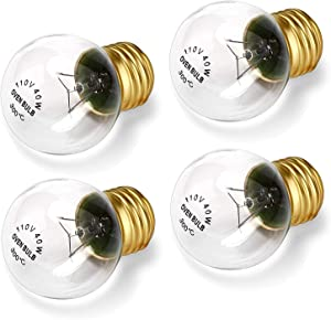 Bulbly Appliance Oven Refrigerator Light Bulb G45 High Temp E26 / E27 Medium Brass Base 40 Watts 120 Volts Clear 400 Lumens