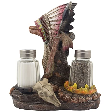 Beau Decorative Native American Indian Glass Salt And Pepper Shaker Set With A  Figurine Display Stand Featuring