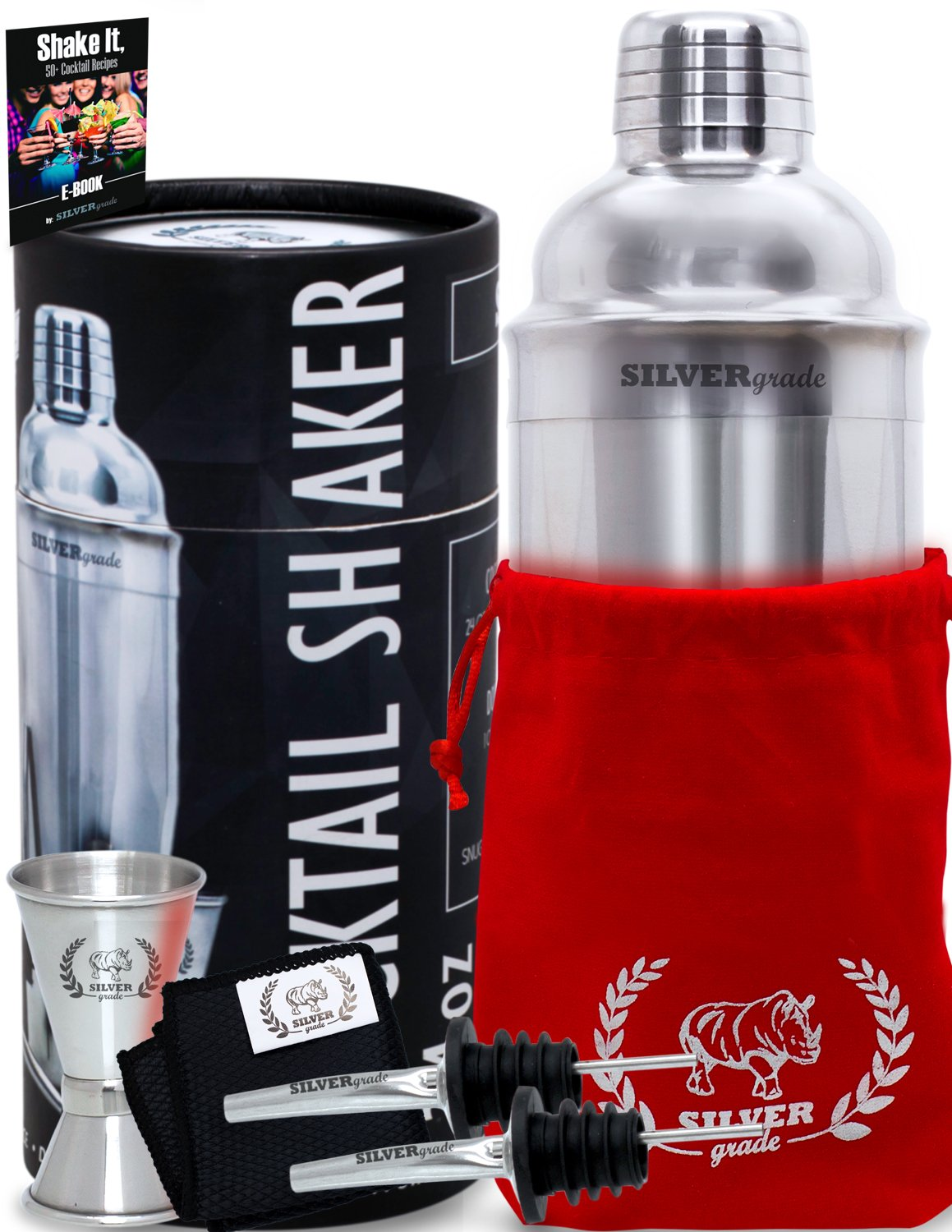 Cocktail Shaker Set - Professional Martini Bartender Kit - 24 Ounce Stainless Steel Shaker with Built-in Strainer and Lid, Double Jigger, 2 Liquor Pourers, 50 Cocktail Recipes eBook - by SILVERgrade