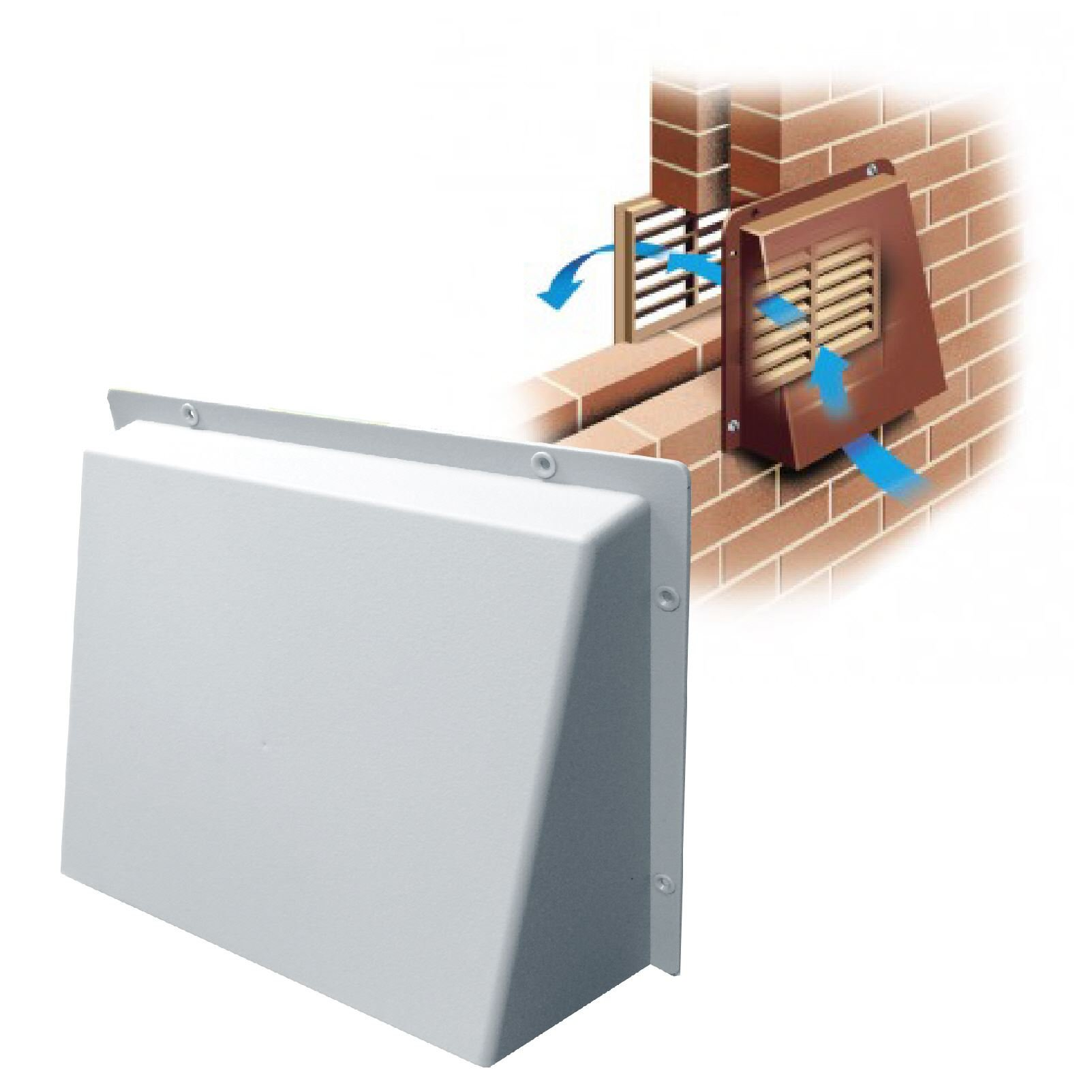 9'' x 9'' White Hooded Cowl Vent Cover for Air Bricks Grilles Extractors Vents