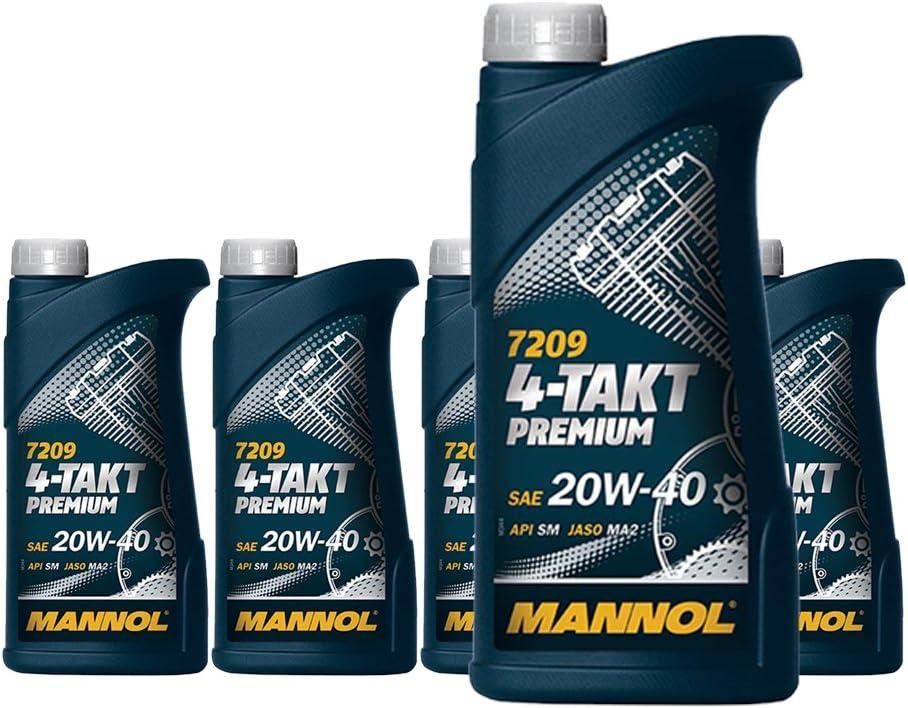 Mannol 5 X 1l 7209 4 Takt Premium Sae 20w 40 Jaso Ma2 Api Sm Motorradöl Mineral Auto