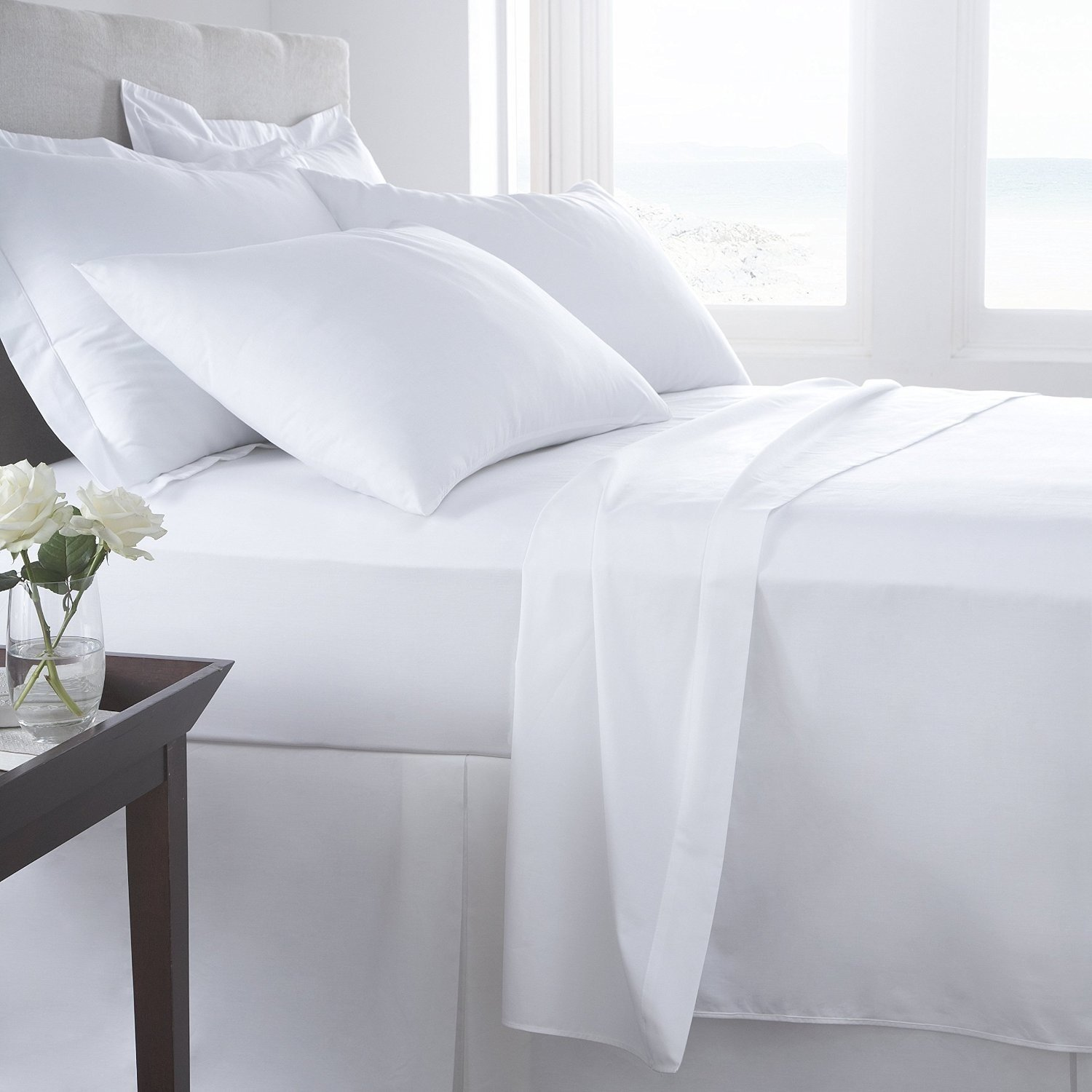 Fitted Sheets 100/% Cotton Combed Bed Sheets Single 4FT Double King Size Bedding