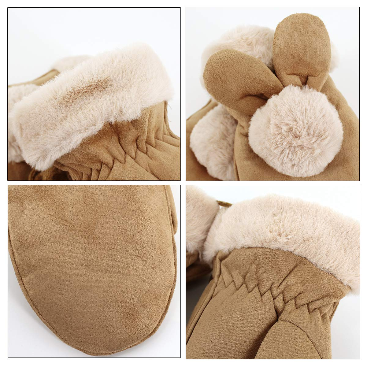 Sherry Girls Winter Warm Mittens Kids Thicken Suede Leather Cute Pom Mittens Outdoor Skiing Riding Gloves