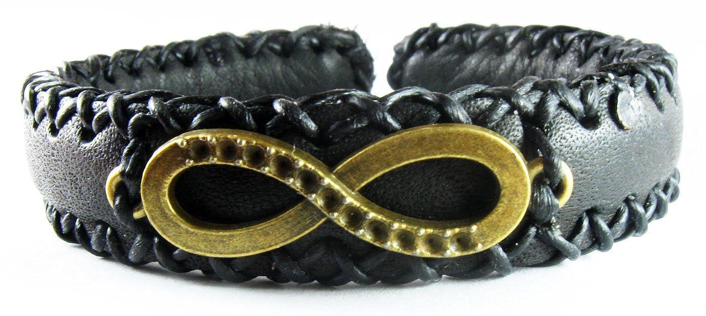 Black DSHARK Handmade Infinity Design Biker Leather Bangle Bracelet Cuff Wristband for Unisex