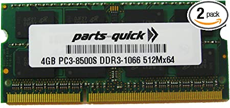 Parts-Quick Brand 4GB Memory for Dell Studio 1457 1458 1745 1747 Laptop DDR3 PC3-8500 1066MHz SODIMM RAM