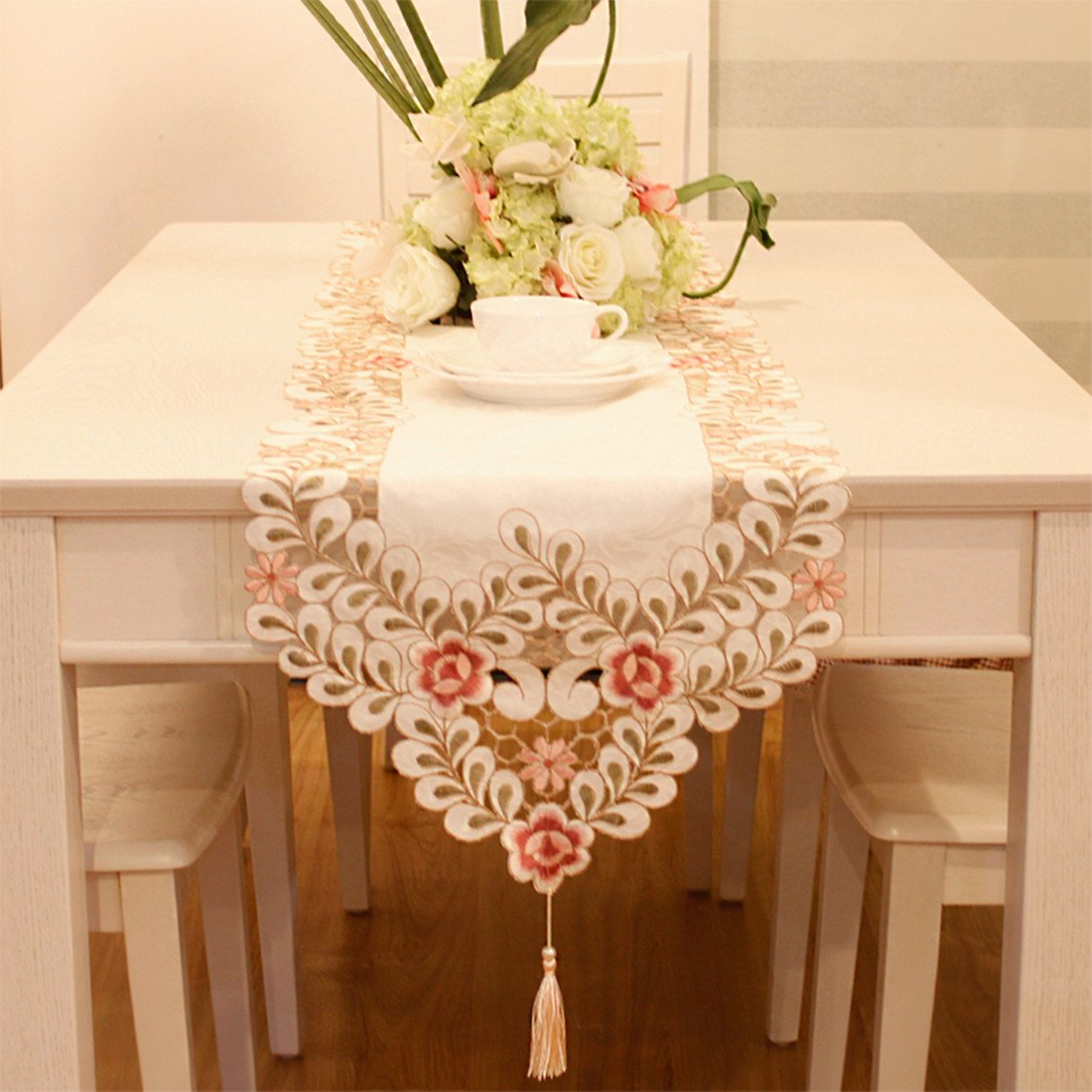 Pink flower embroidered hemstitch easter table runner tapestry 84 inch approx by JH table runner (Image #2)