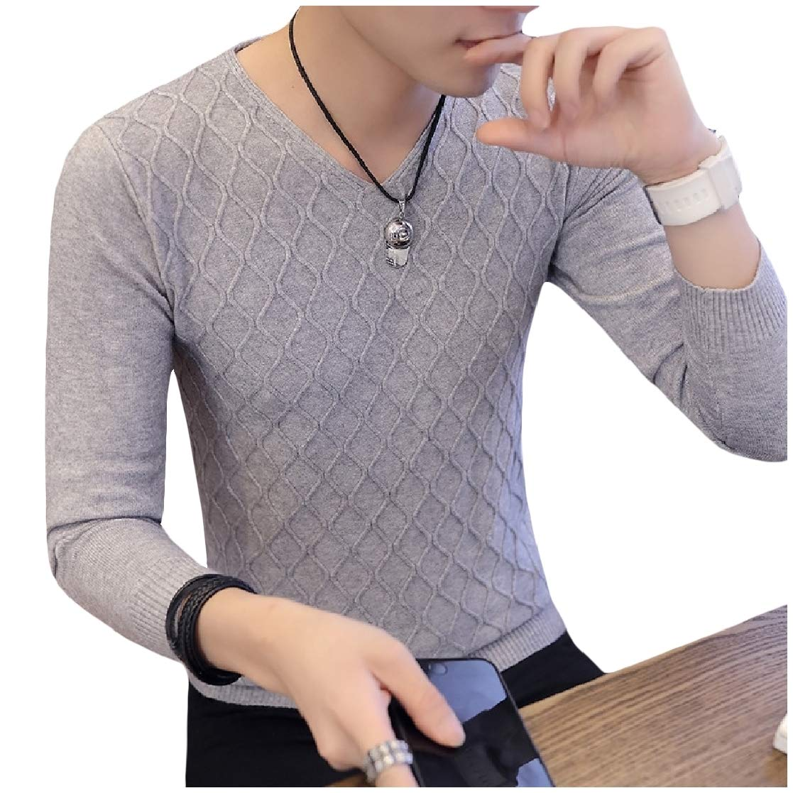 YUNY Mens Long-Sleeve Jacquard Silm Fit Knitwear Chic Soft Pullover Sweater AS1 S