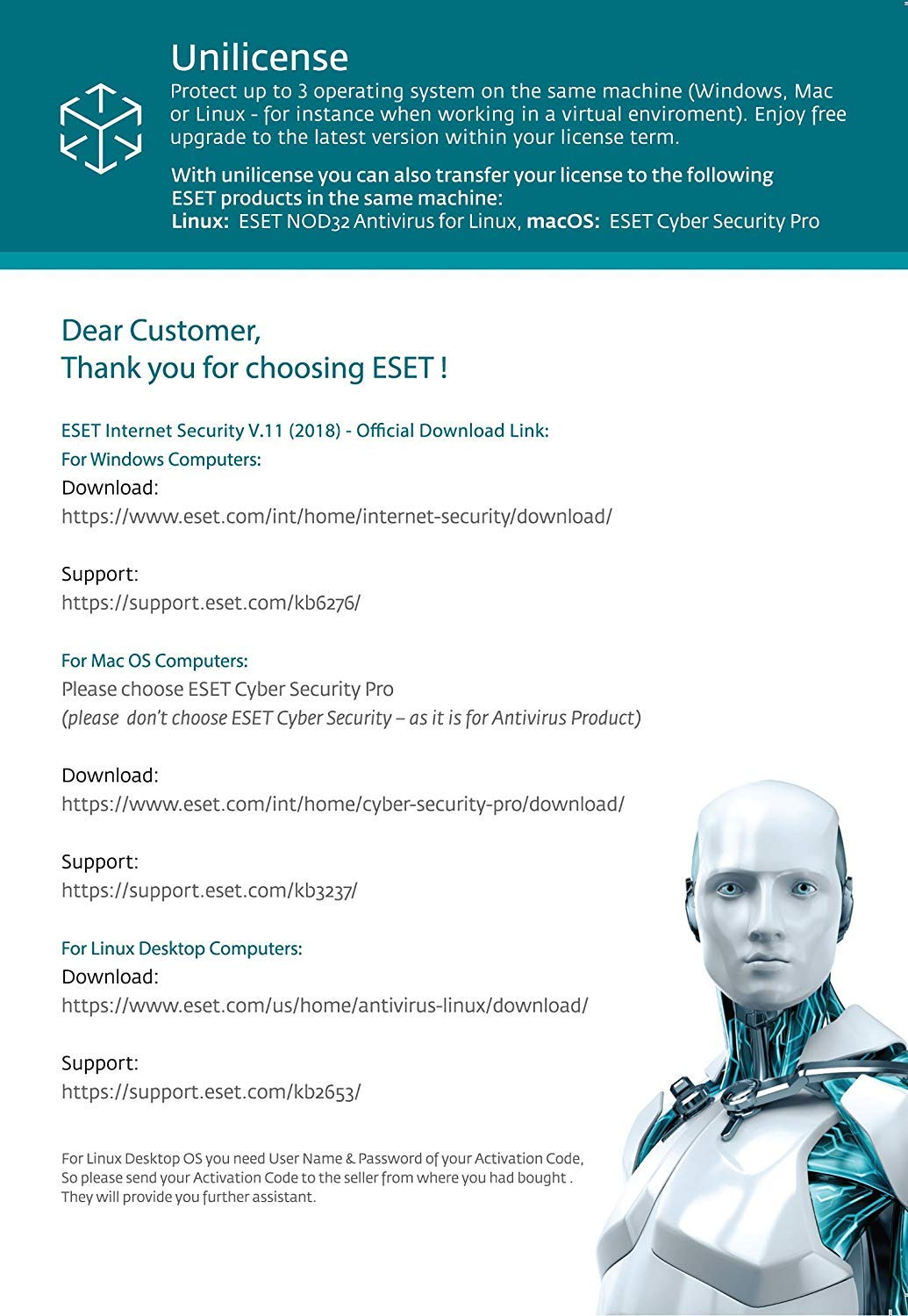 ESET Internet Security 2019   3 PC's   2 5 Years Subscription   PC