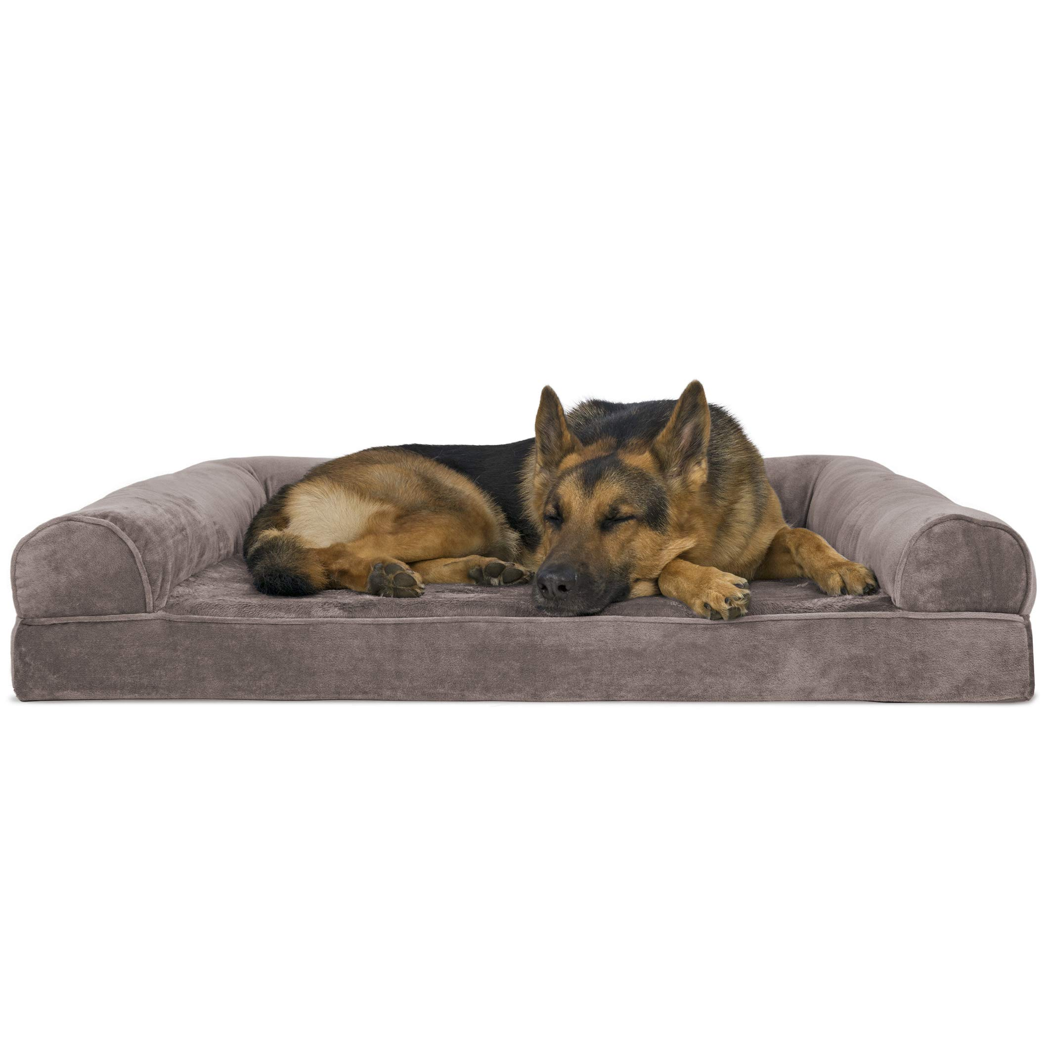 Furhaven Pet Dog Bed | Orthopedic Faux Fur & Velvet Traditional Sofa-Style Living Room Couch Pet Bed w/Removable Cover for Dogs & Cats, Driftwood Brown, Jumbo by Furhaven