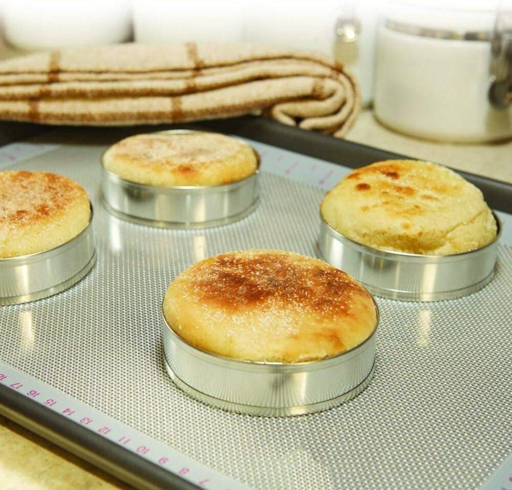 4 PCS Stainless Steel Mousse Ring Cake Mold Household DIY Burger Bread Baking Mo