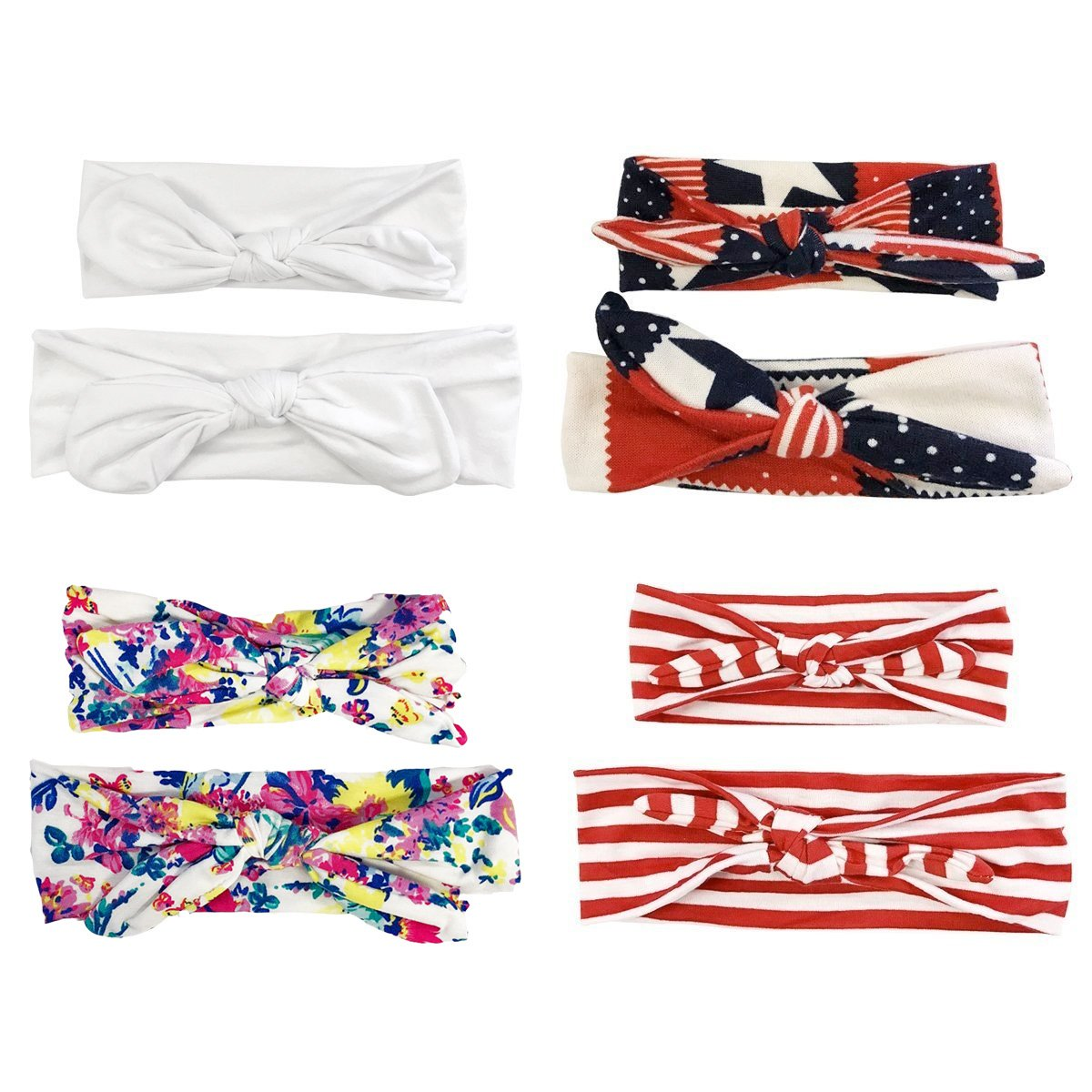 Wrapables Mommy and Me Boho Headband Red White Blue