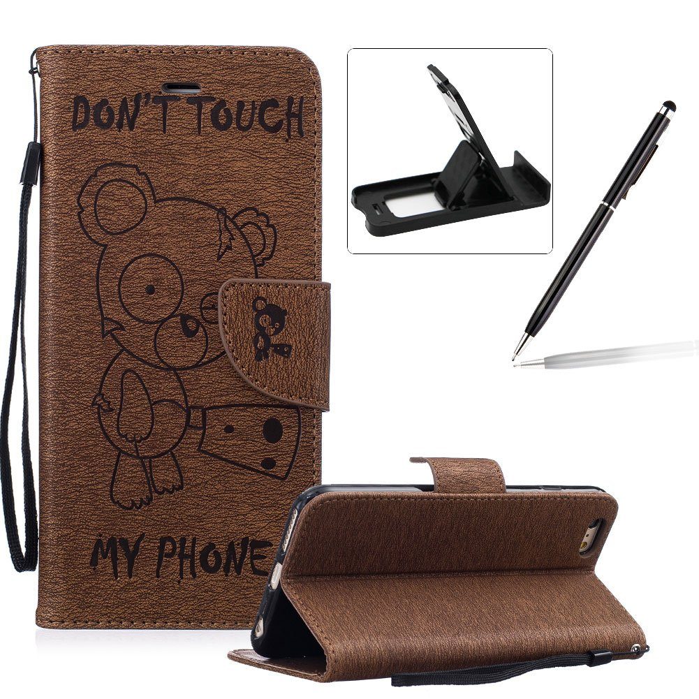 Case For iPhone 6S,Smart Case for iPhone 6,Herzzer Stylish Cute Bear Don't Touch My Phone Design PU Leather Wallet Case Stand Flip Case with Credit Card Slot for iPhone 6/6S 4.7 inch,Brown