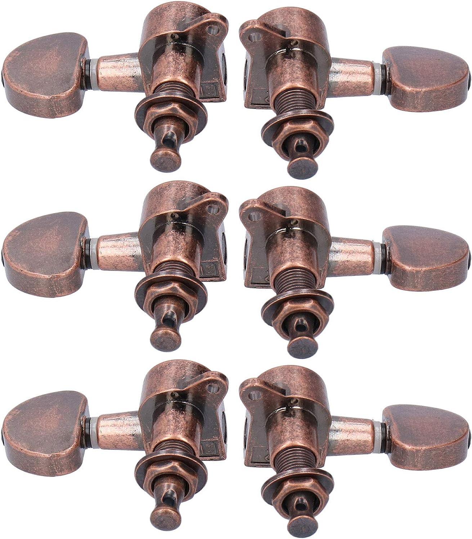 Clavijas de afinación de guitarra, clavijas de afinación de cuerdas, anticorrosión estable anticorrosión exquisita para guitarra acústica de repuesto rota vieja(Red copper)