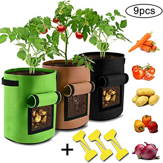 2 x 7 Gallones Bolsa de Cultivo de Plantas Zanahoria Maceta de Cultivo de Patatas Sacos para Plantas con Ventana de Velcro para Papa Tomate y Cebolla etc Bolsas de Cultivo de Papa