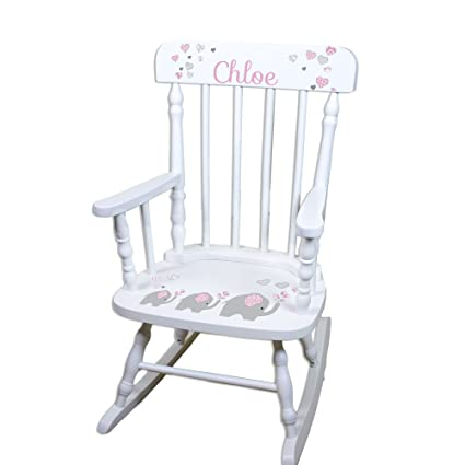 Bon Personalized Childrens Elephant Pink Rocking Chair