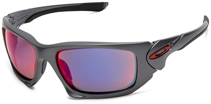 fff197430a8 ... where to buy oakley mens scalpel dark grey sunglasses with red iridium  lens oo9095 04 amazon
