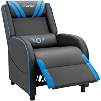JUMMICO Gaming Recliner Chair PU Leather Single Recliner Sofa Adjustable Modern Living Room Recliners Home Theater Recliner Seat (Blue)