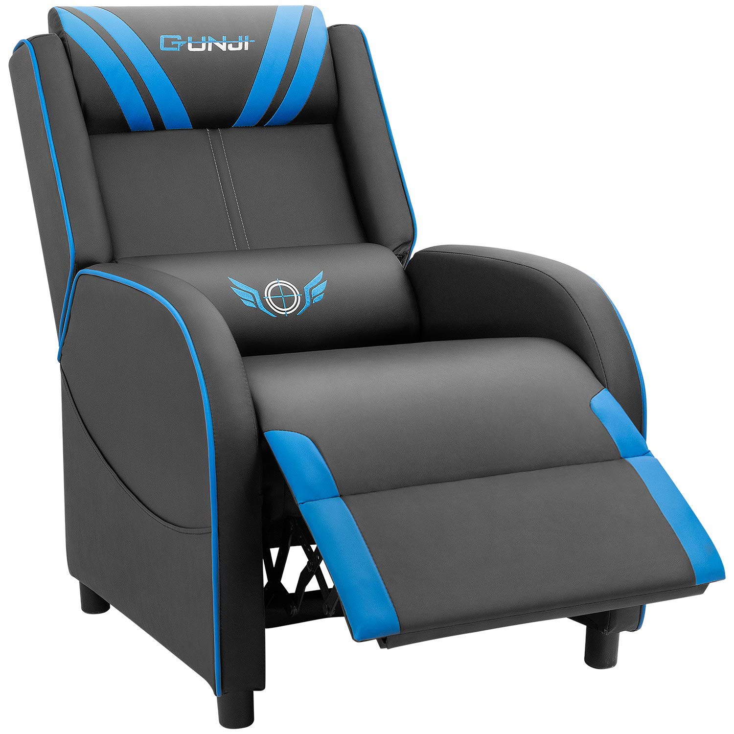 JUMMICO Gaming Recliner Chair PU Leather Single Recliner Sofa Adjustable Modern Living Room Recliners Home Theater Recliner Seat Blue