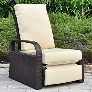 Outdoor Wicker Recliner Chair with 5.12'' Cushions, Automatic Adjustable Patio Chaise Lounge Chairs, Aluminum Frame. UV Resistant and Rustless