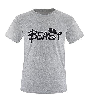Luckja Beauty & Beast Pärchen Rundhals T-Shirt Grau-Schwarz Grösse XXXL