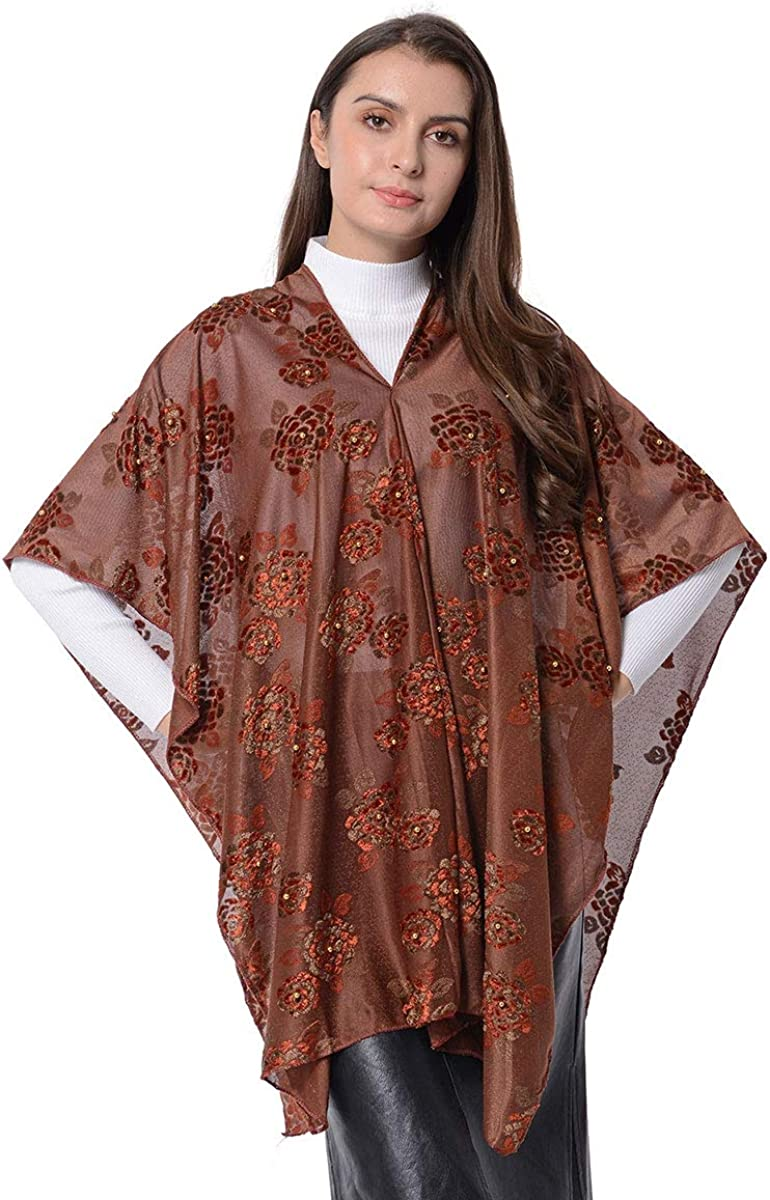 B07S5Z2NK4 Scarf Dark Brown Rose Pattern Polyester Poncho Bathing Swimsuit Beach Cover Ups for Women Gift 71ehvaHQlBL