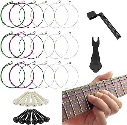 3 juegos de cuerdas para guitarra acústica, regalos adjuntos ...