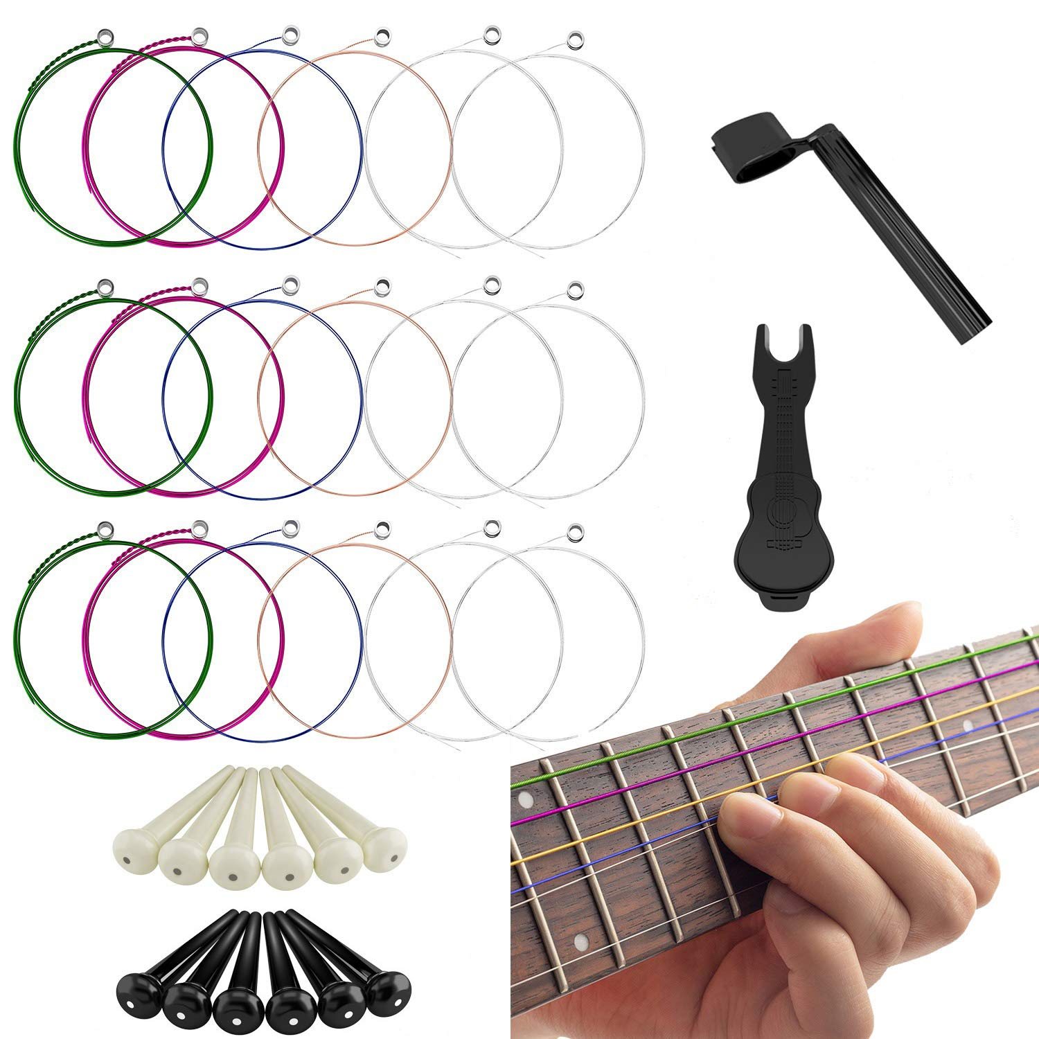 17 Pieces Acoustic Guitar Strings, Changing Kit Guitar Tool Strings Winder, Pin Puller, Plastic Bridge Pins Fullsexy