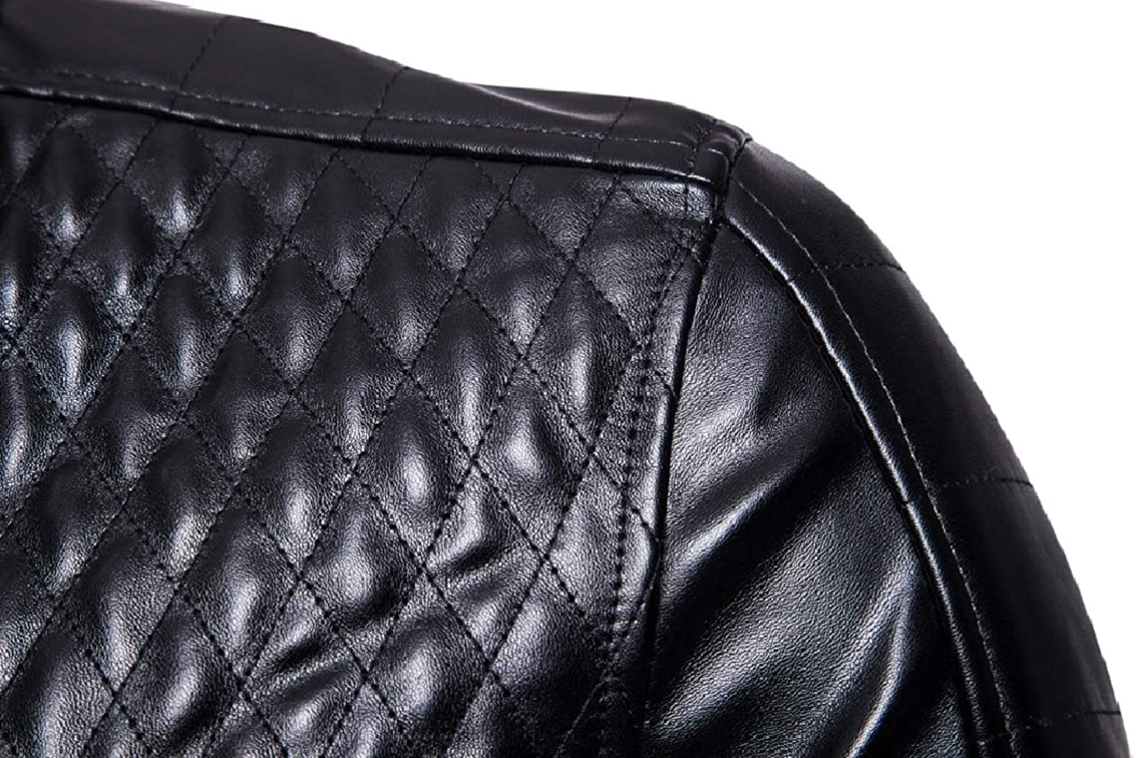 Unastar Mens Pockets Quilted Moto Biker Stand Collar PU Leather Jackets