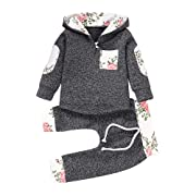 Onefa Infant Toddler Baby Boys Girls Outfits Set Floral Hooded Pullover Tops Pants (6-12 Months, Gray)