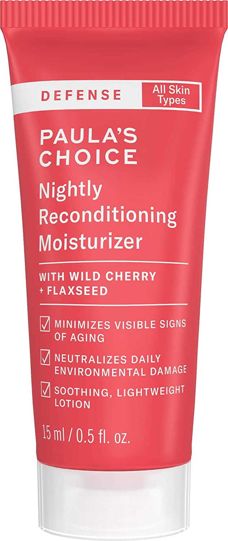 Paula's Choice DEFENSE Nightly Reconditioning Moisturizer w/Wild Cherry, Flaxseed, Neem, Sunflower Seed & Marula Oil, Anti-Pollution Night Cream, 0.5 oz
