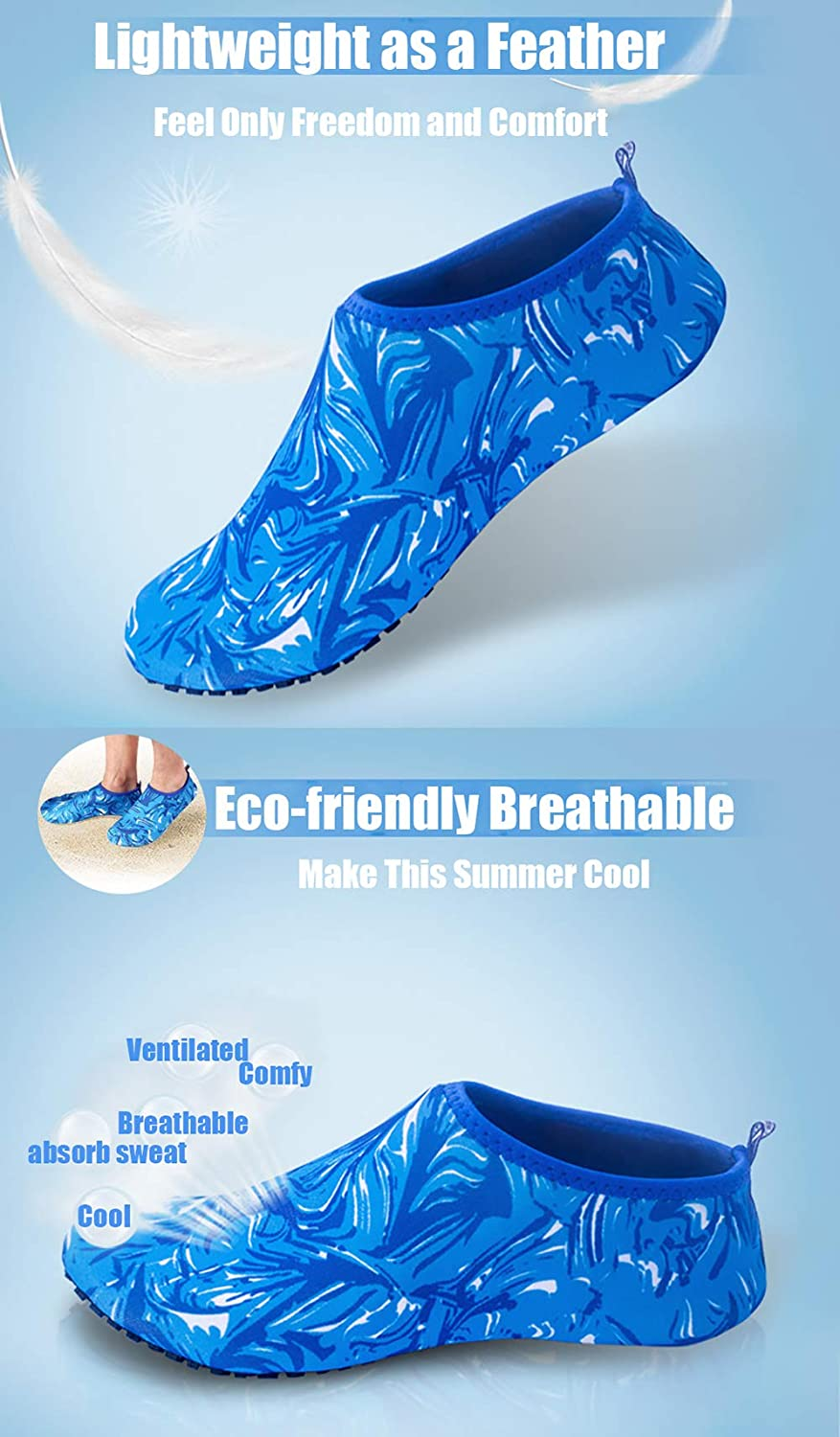 Peicees Mens and Womens Water Shoes Quick Dry Dive Beach Aqua Water Socks Upgraded Skin Shoes Booties for Beach Swim Snorkeling Surf Yoga Exercise